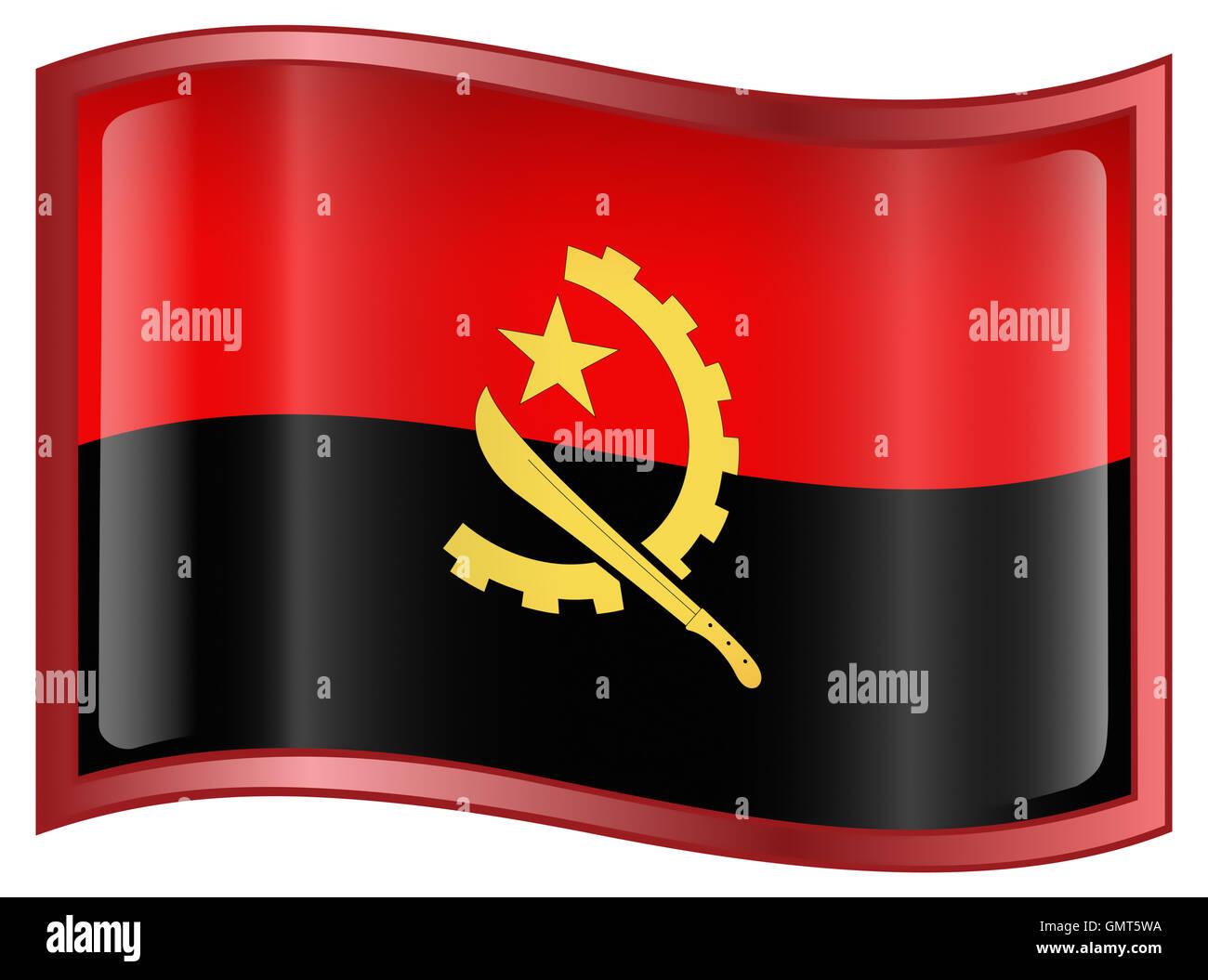 Angola Flag icon, isolated on white background. - Stock Image