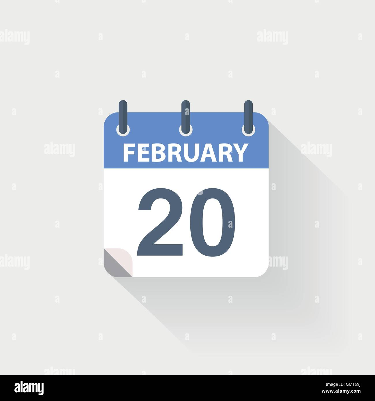 20 february calendar icon on grey background - Stock Vector