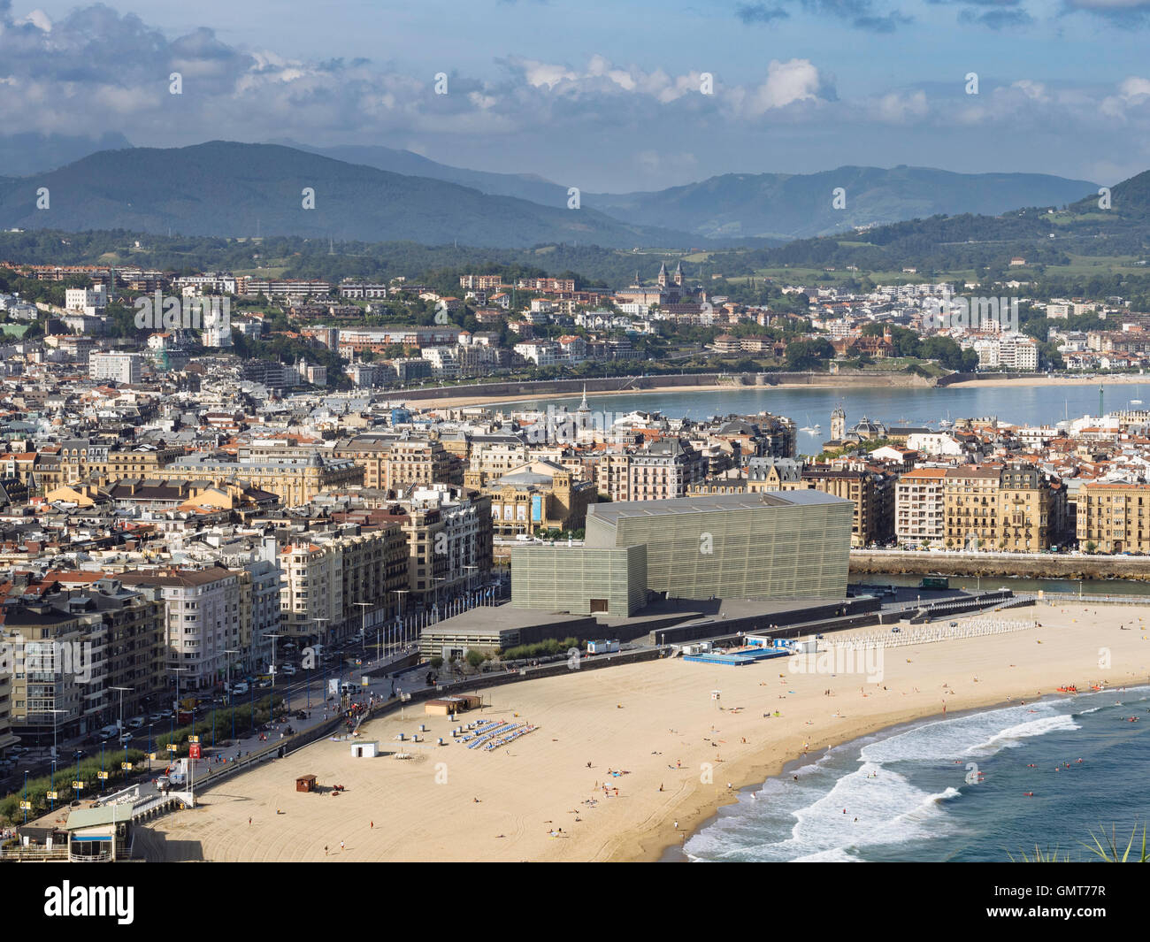 View of San Sebastian Donostia with Zurriola beach and the Kursaal n the foreground Basque Country Spain - Stock Image
