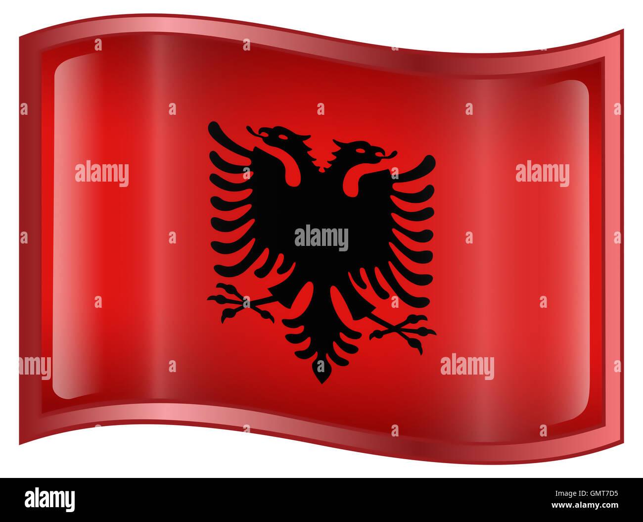 Albania Flag Icon - Stock Image
