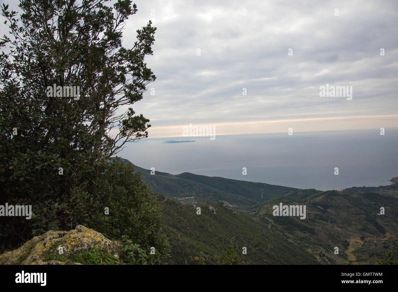 Panorama from Monte Argentario on the Tyrrhenian Sea - Stock Image