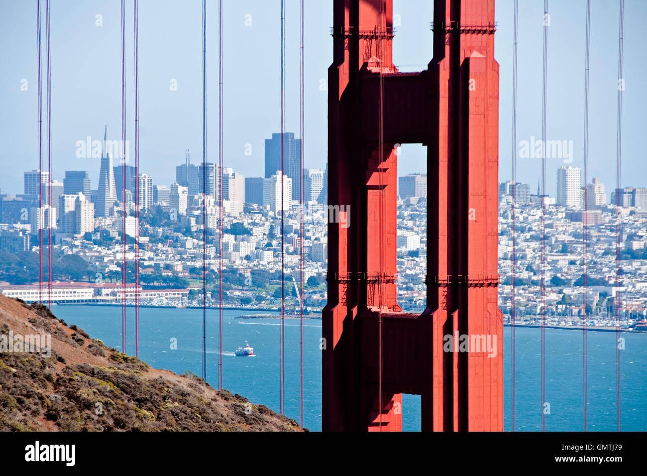 Golden Gate Bridge framing San Francisco skyline Stock Photo ...