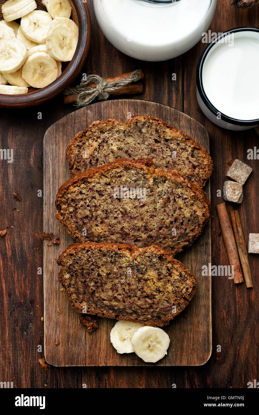 Homemade fruit banana bread, healthy food, top view - Stock Image