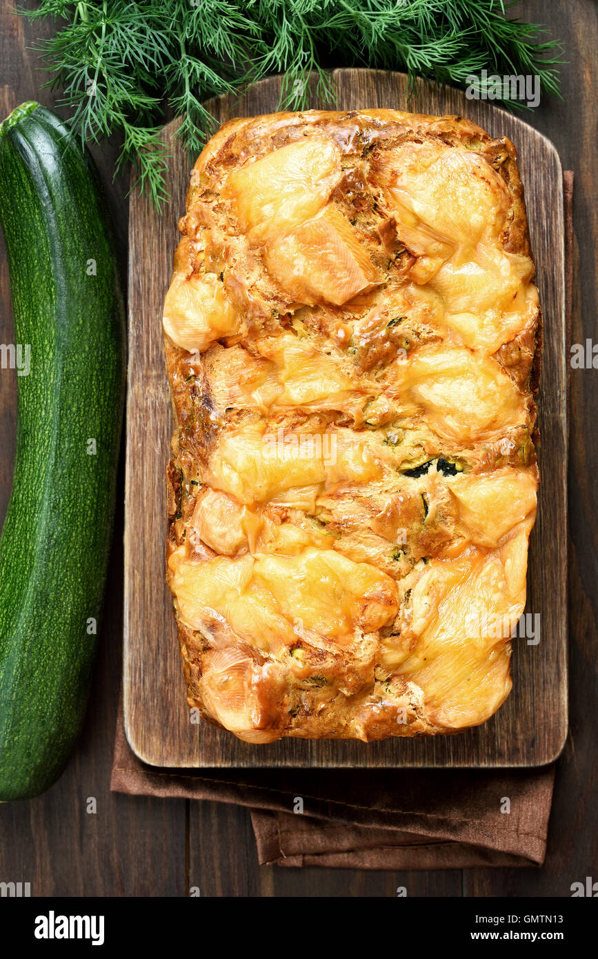 Zucchini bread loaf, top view - Stock Image