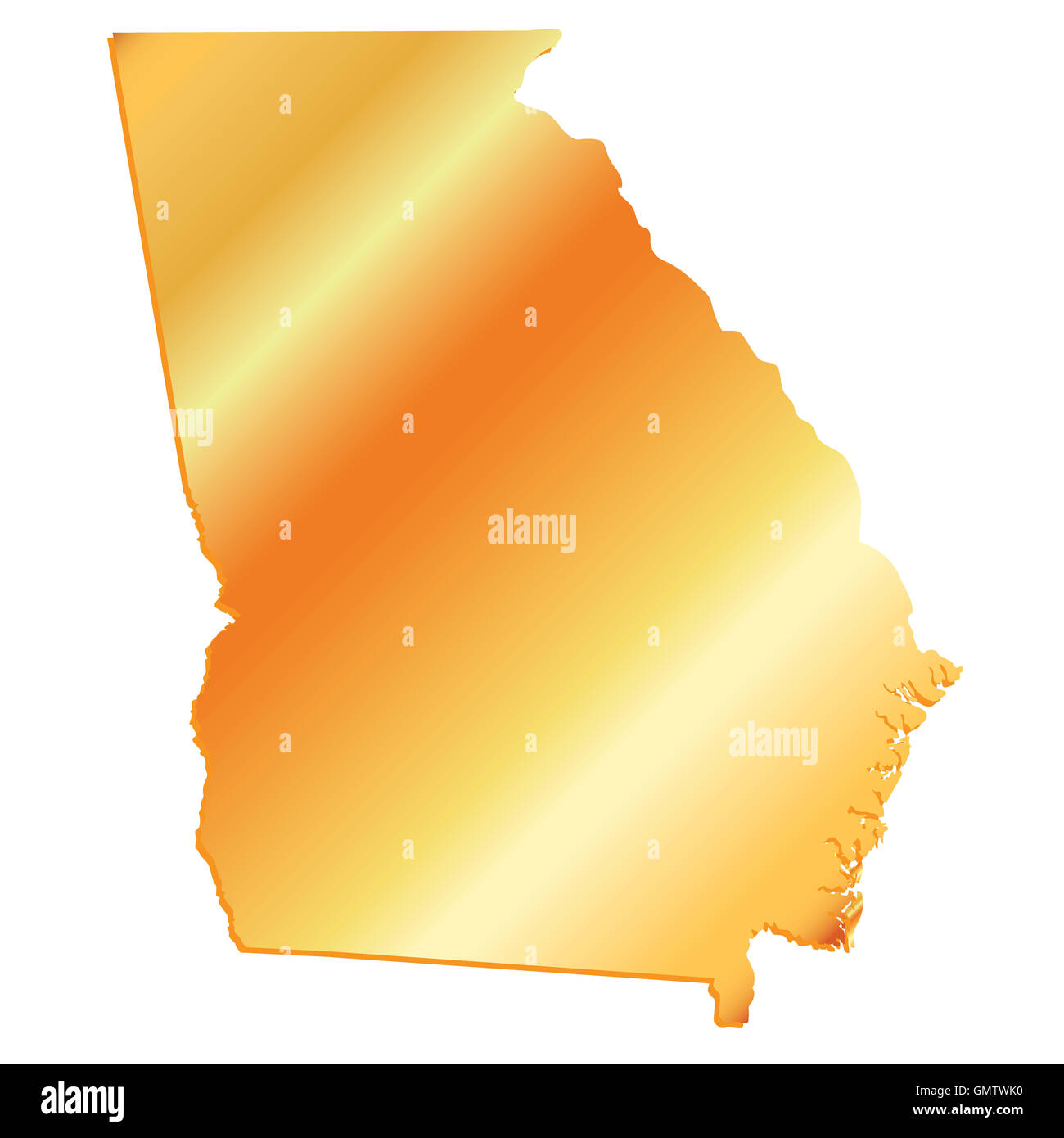 3d georgia usa gold outline map with shadow