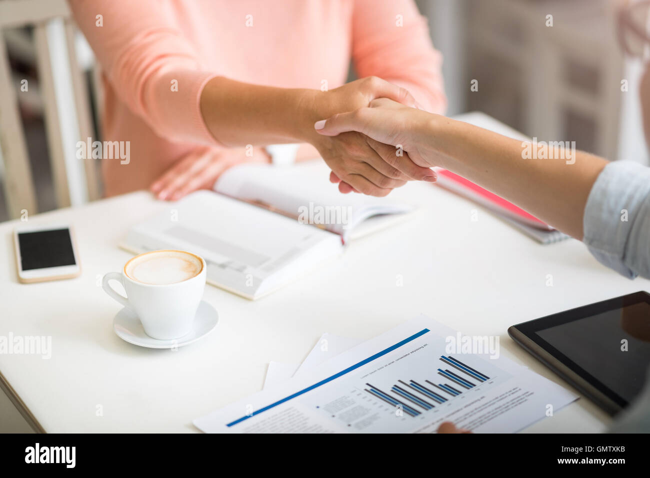 Pleasant women shaking hands Stock Photo