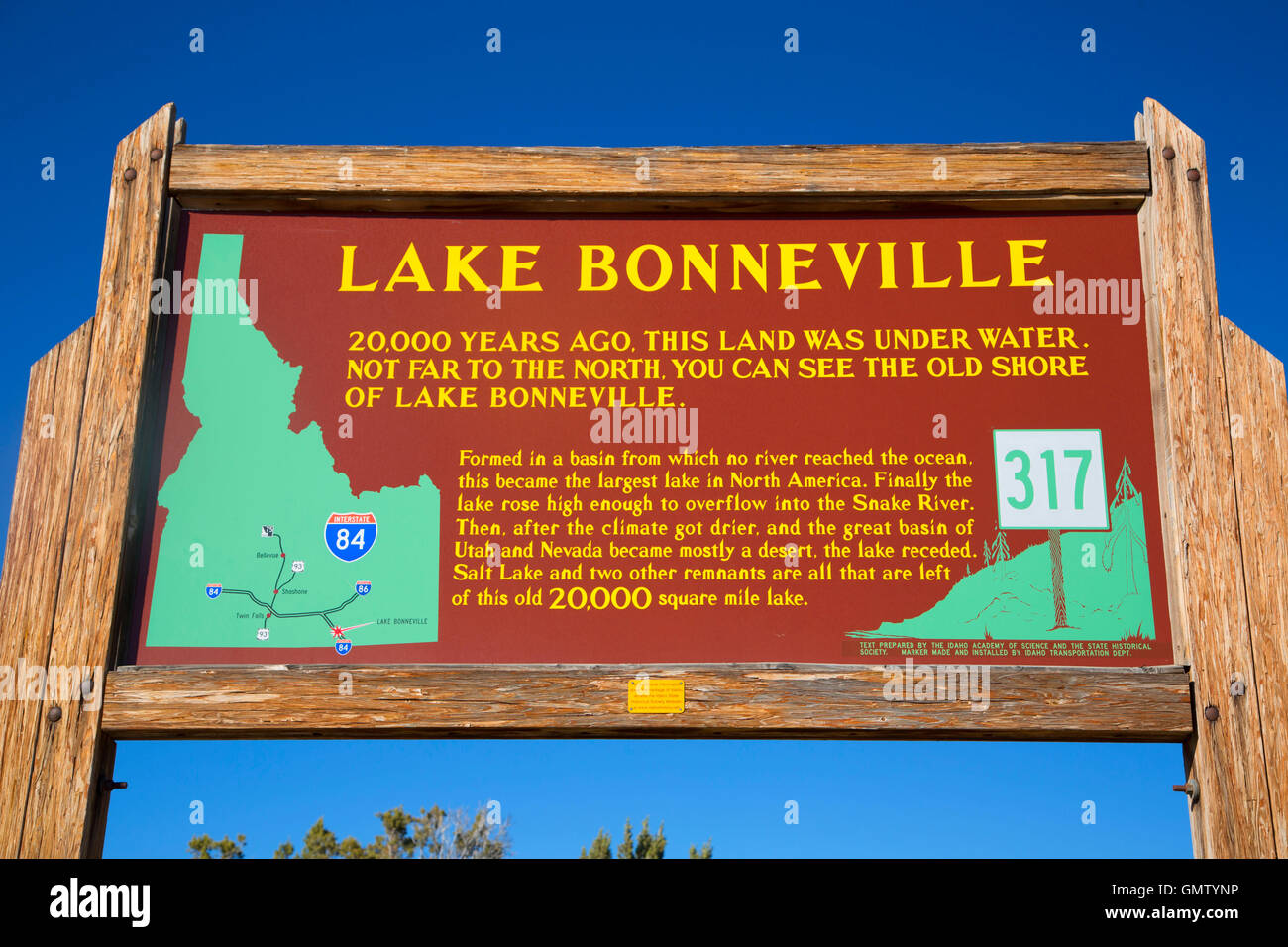 Lake Bonneville Historical sign, Oneida County, Idaho Stock Photo