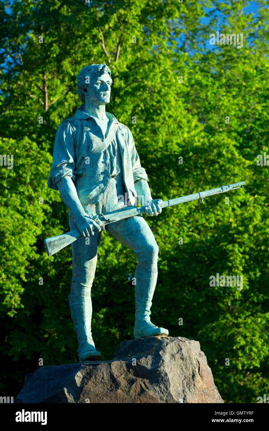 Captain Parker statue on Battle Green, Lexington Green, Lexington,  Massachusetts Stock Photo