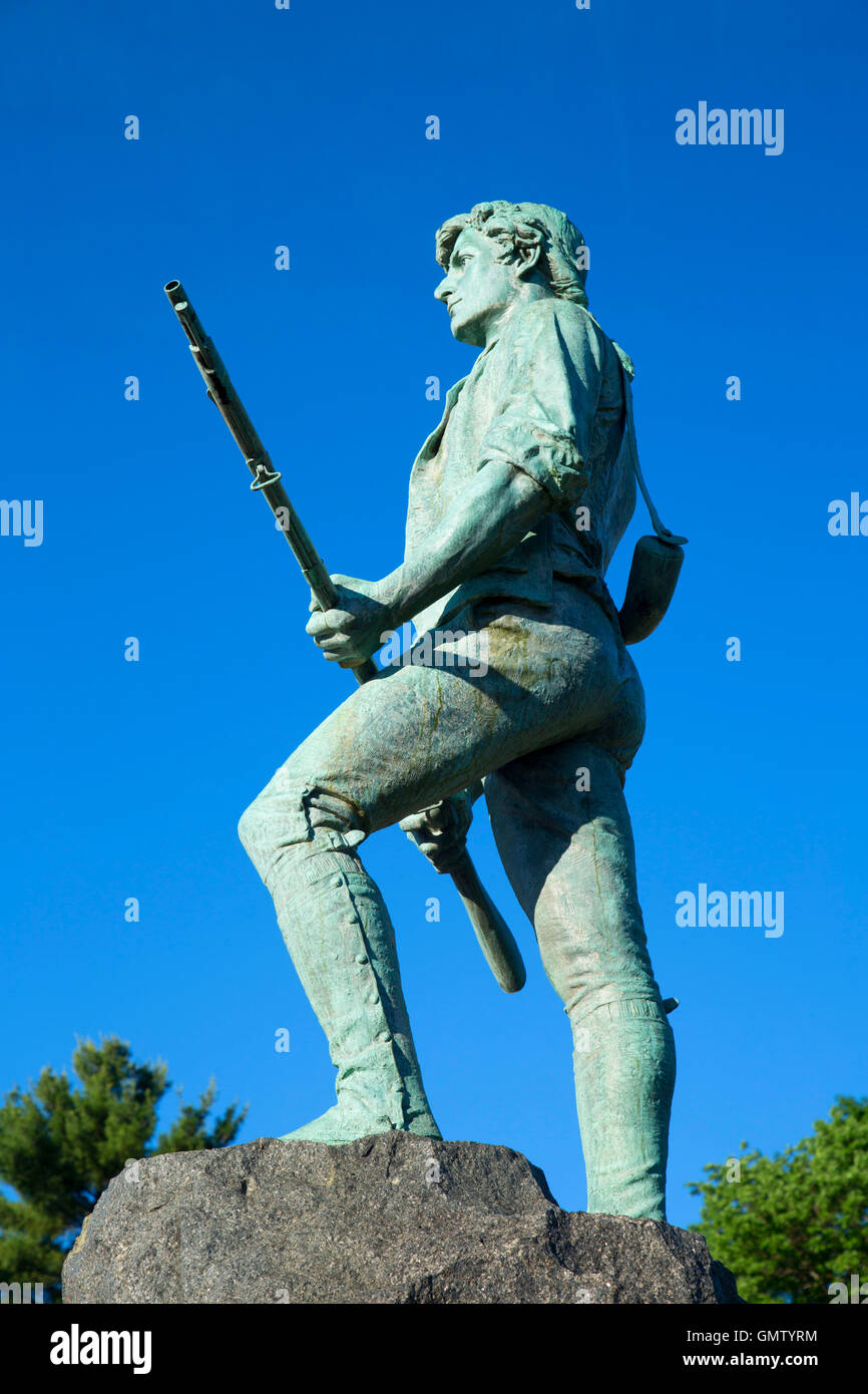 Captain Parker statue on Battle Green, Lexington Green, Lexington,  Massachusetts Stock Photo