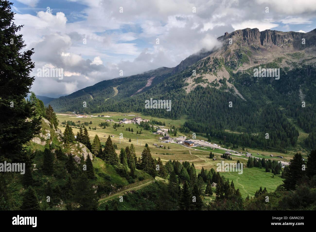 The Dolomites, Trentino, northern Italy. The Passo San Pellegrino in summer Stock Photo