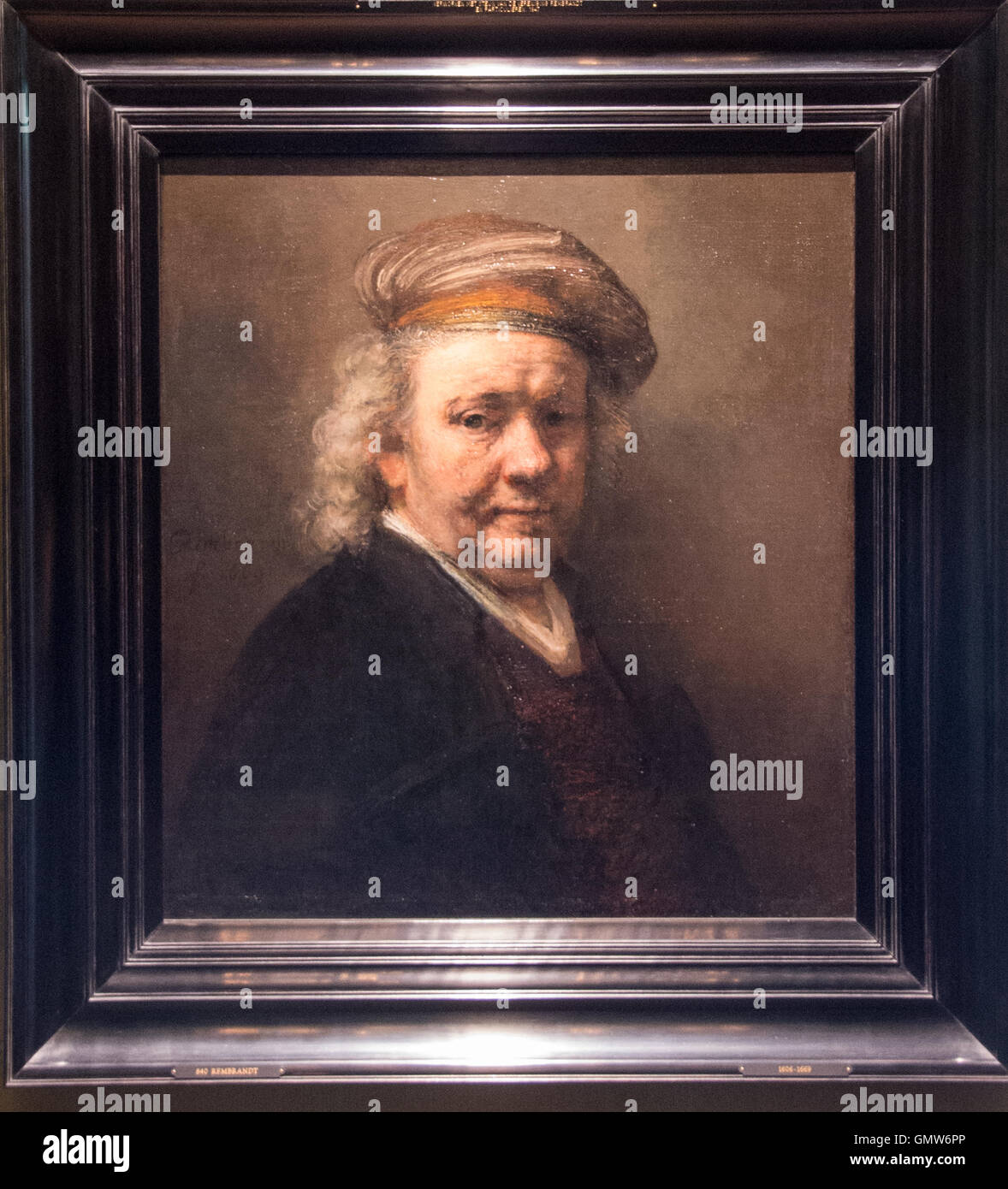 'selfportrait' painting from Rembrandt van Rijn at 1669 - Stock Image