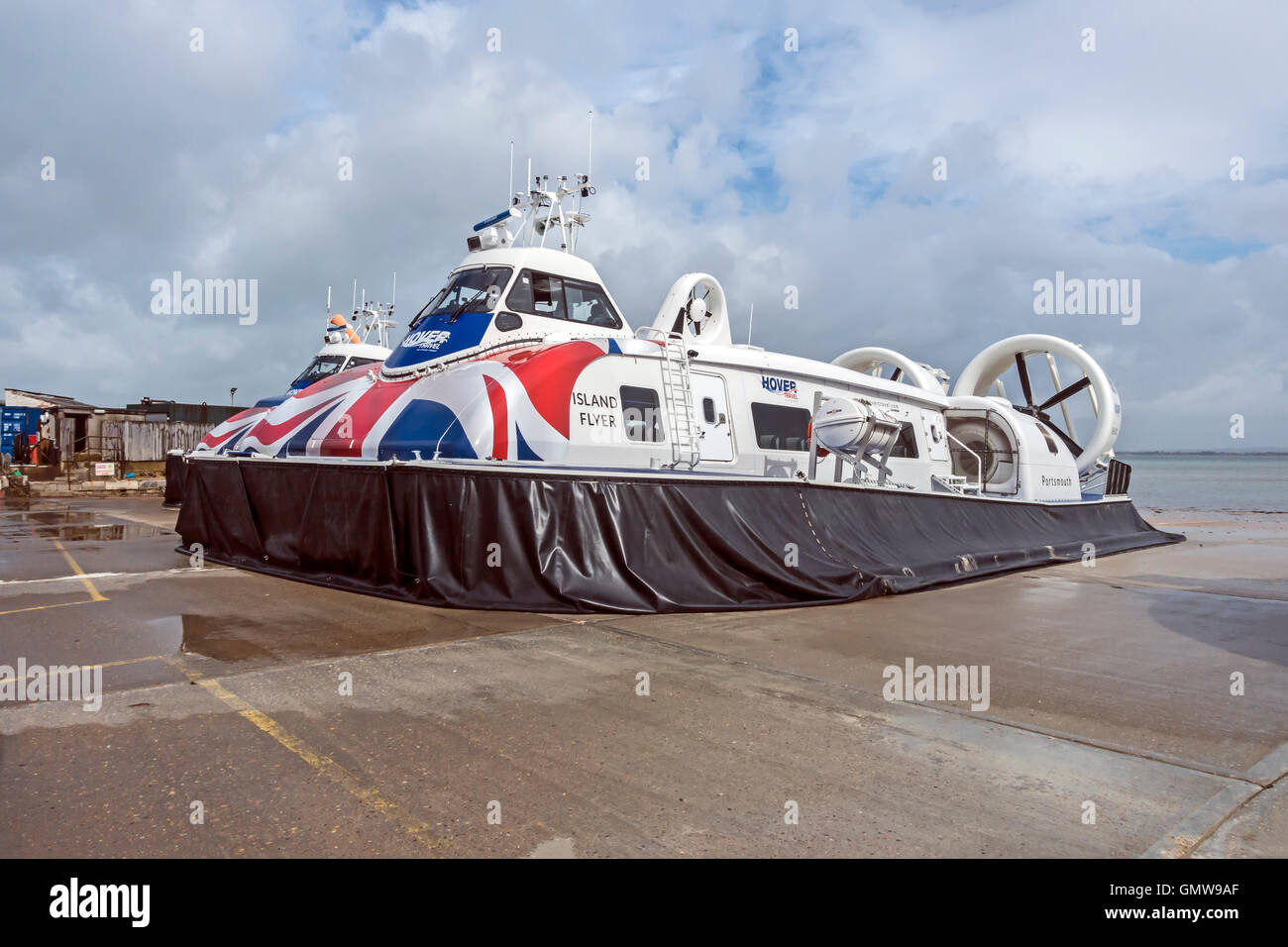 New hovercraft Island Flyer at Ryde Hoverport on Isle of Wight England UK - Stock Image