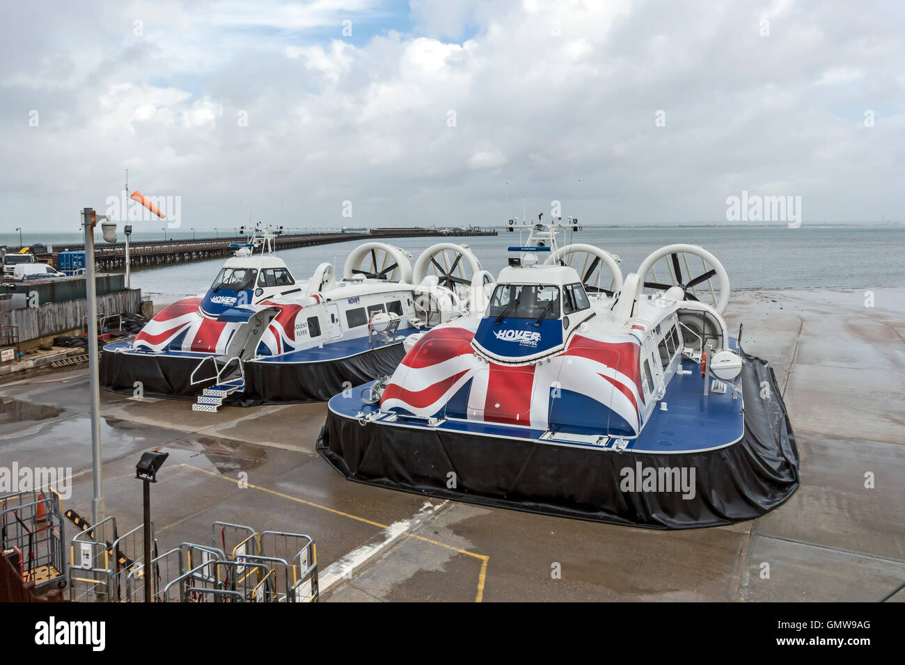 New hovercraft Solent Flyer left and Island Flyer at Ryde Hoverport on Isle of Wight England UK - Stock Image