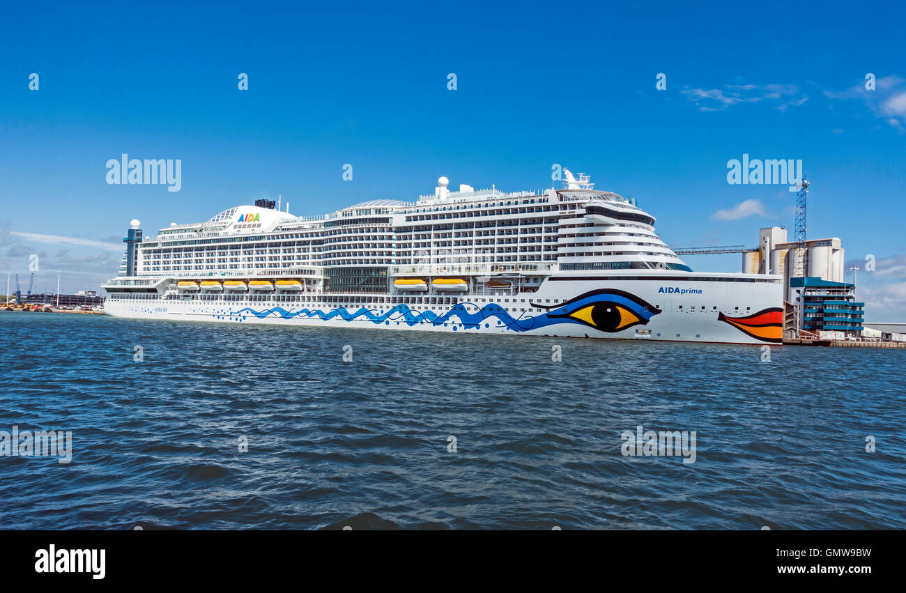 Large cruise ship Aida Prima moored in port of Southampton England - Stock Image