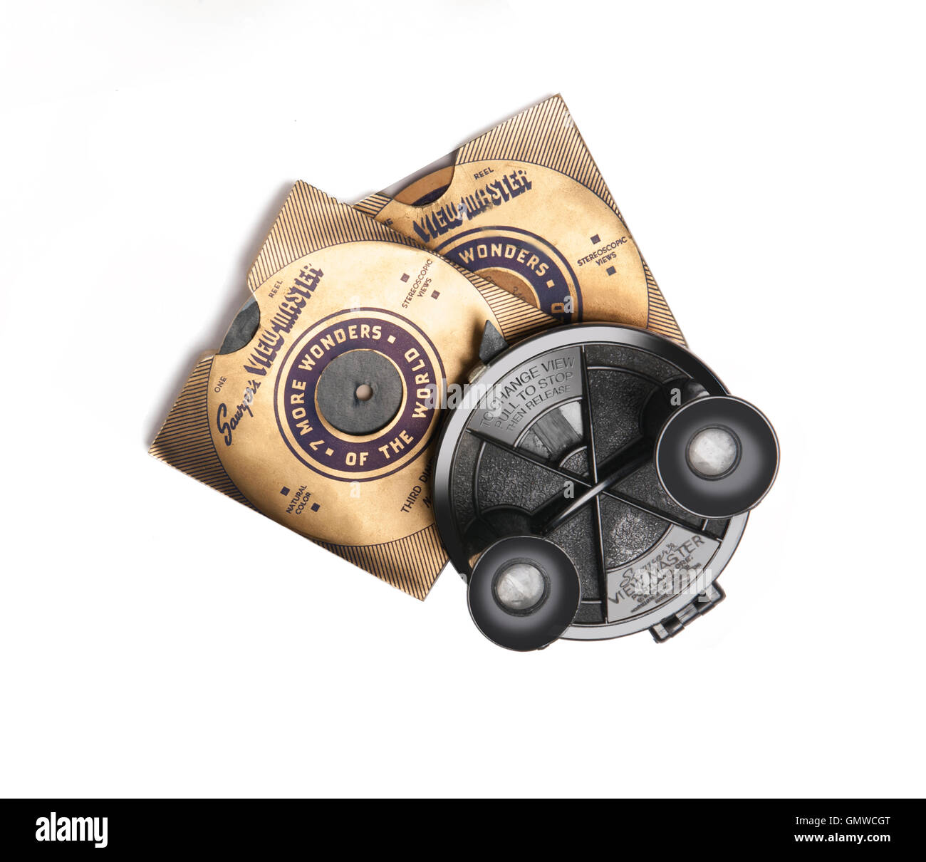 1930 Viewmaster 3d viewer with sleeved disks - Stock Image