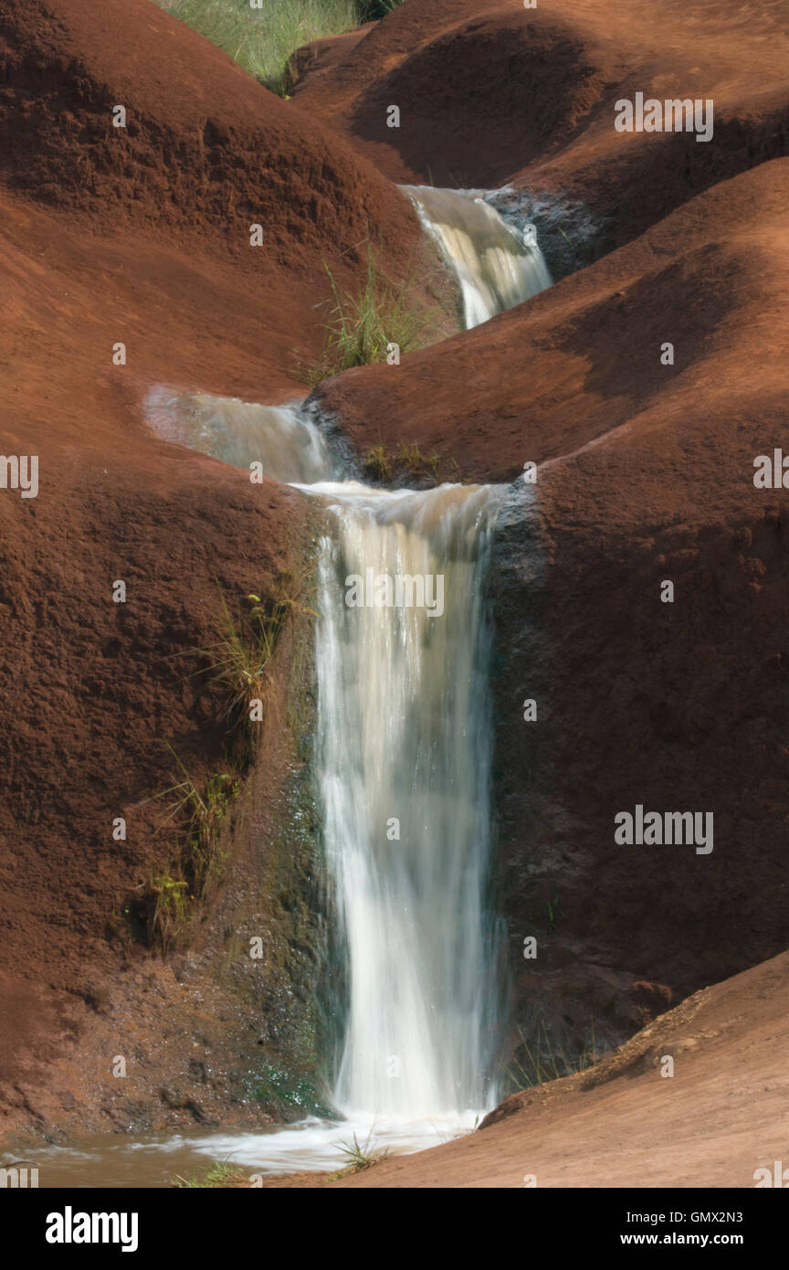 Small waterfalls along Waimea Canyon road, Kauai, Hawaii - Stock Image