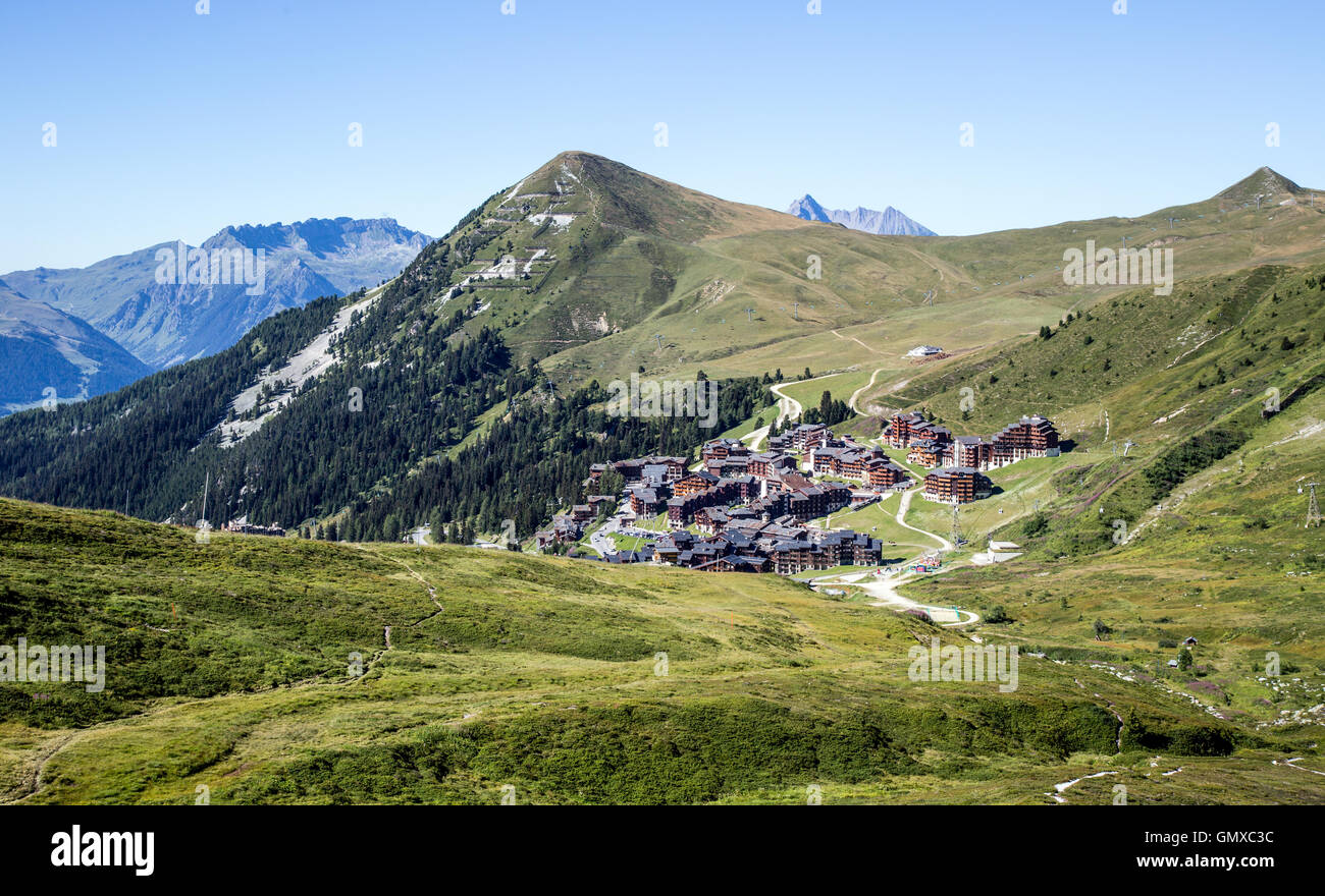 Belle Plagne In the Summer French Alps France - Stock Image