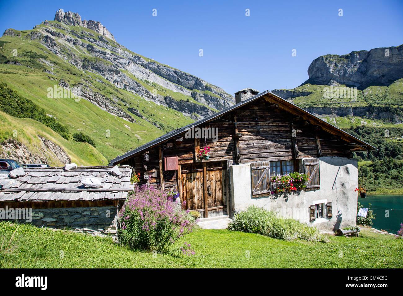 Alpine Chalet La Plagne French Alps France - Stock Image