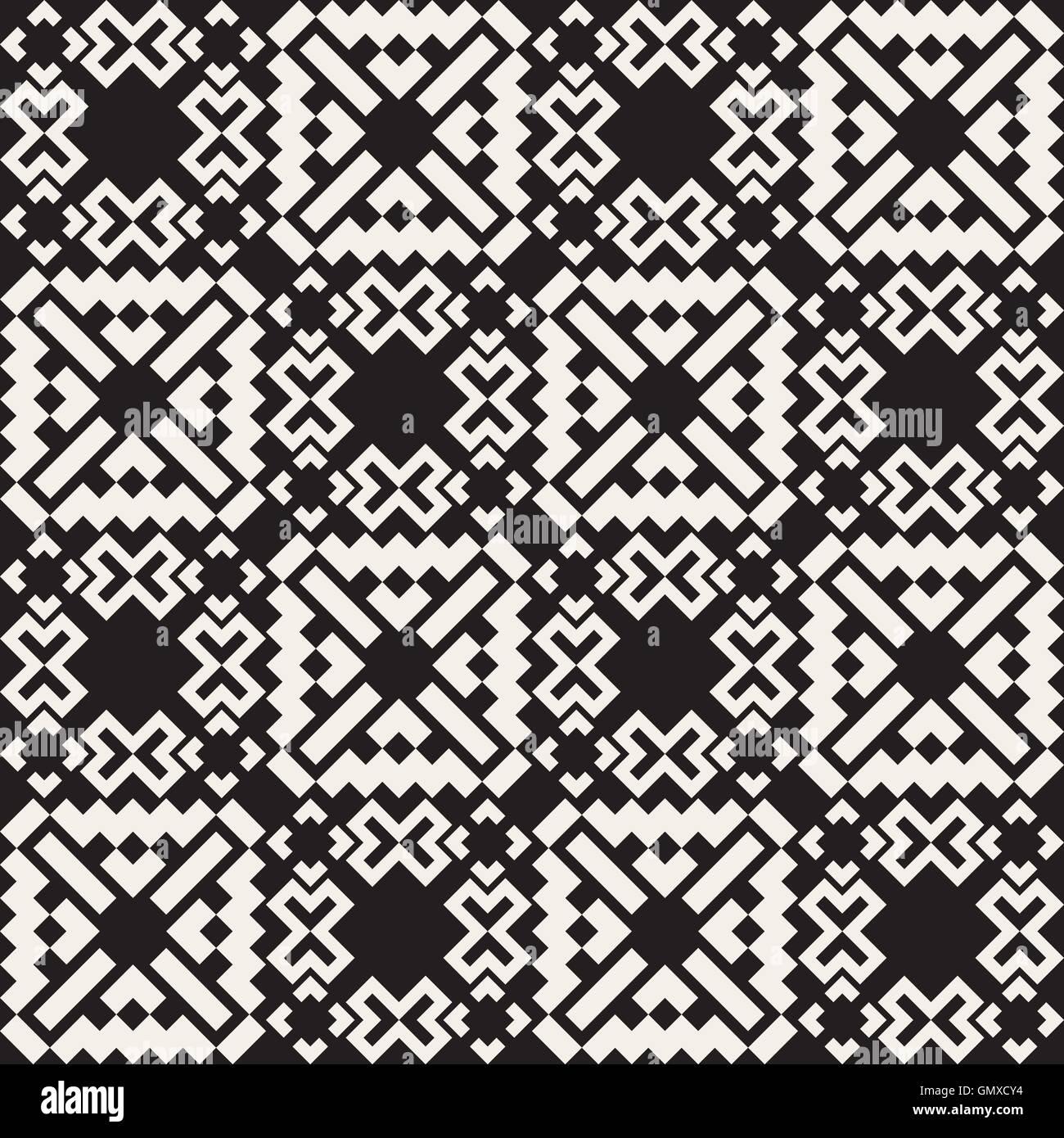 Vector seamless black and white simple cross square ethnic quilt pattern