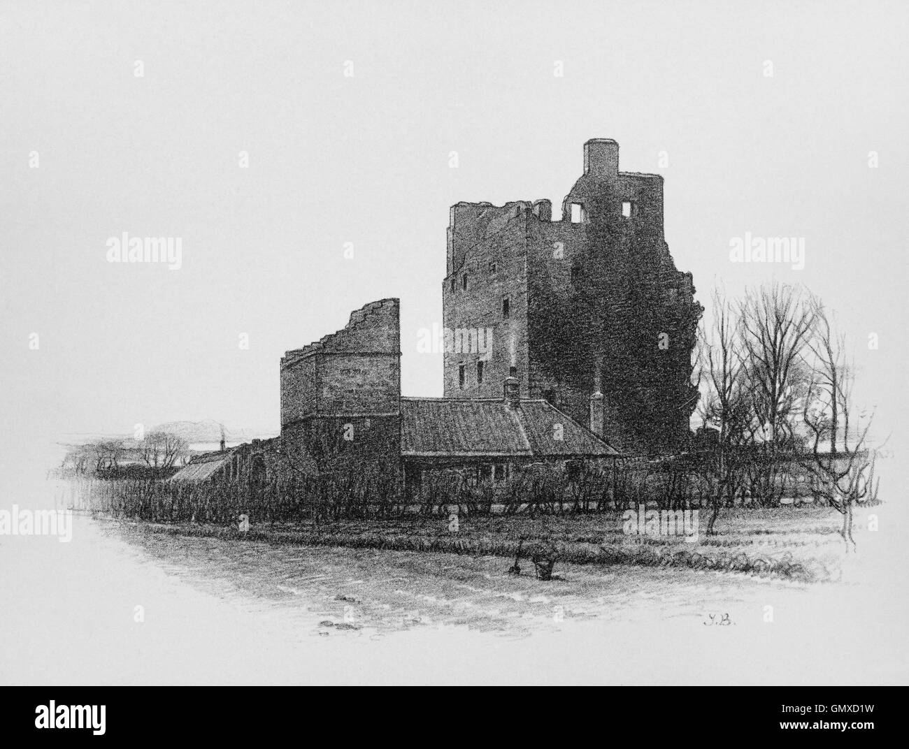 Redhouse Castle, a ruined tower house castle, the first version of the castle appears to have been a religious institution, - Stock Image