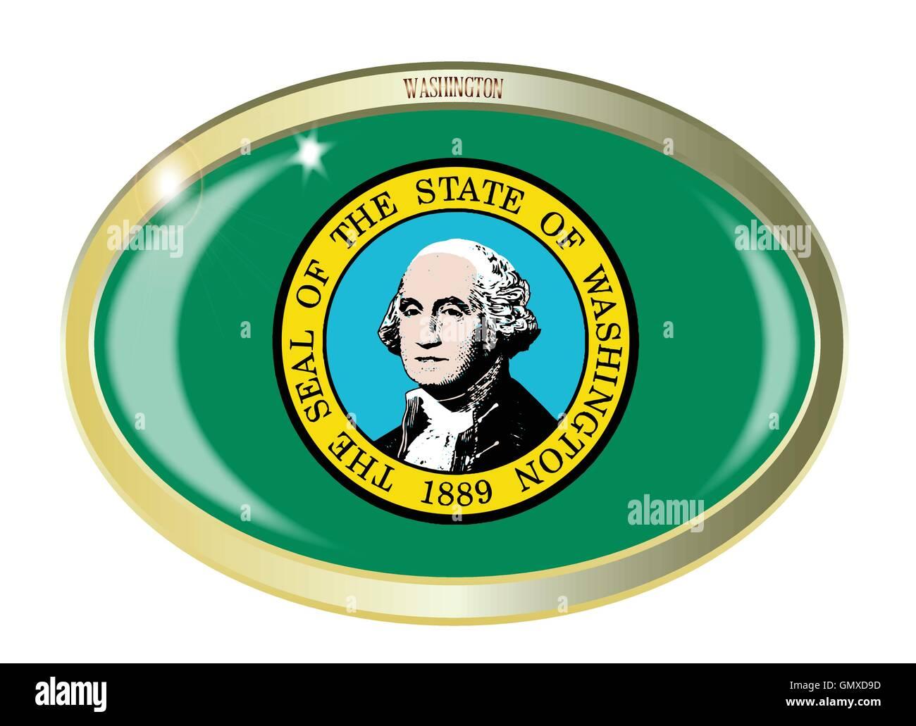 Washington State Flag Oval Button - Stock Vector