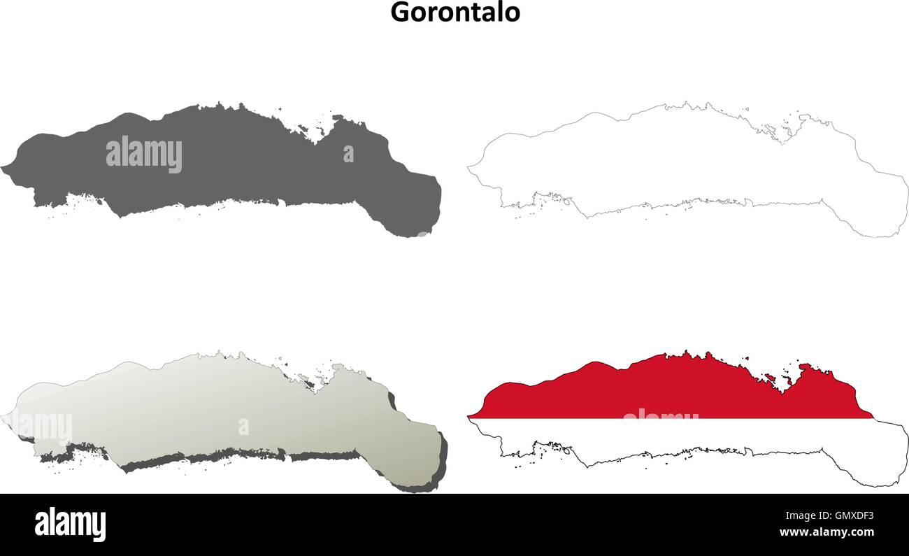 Gorontalo blank outline map set - Stock Vector