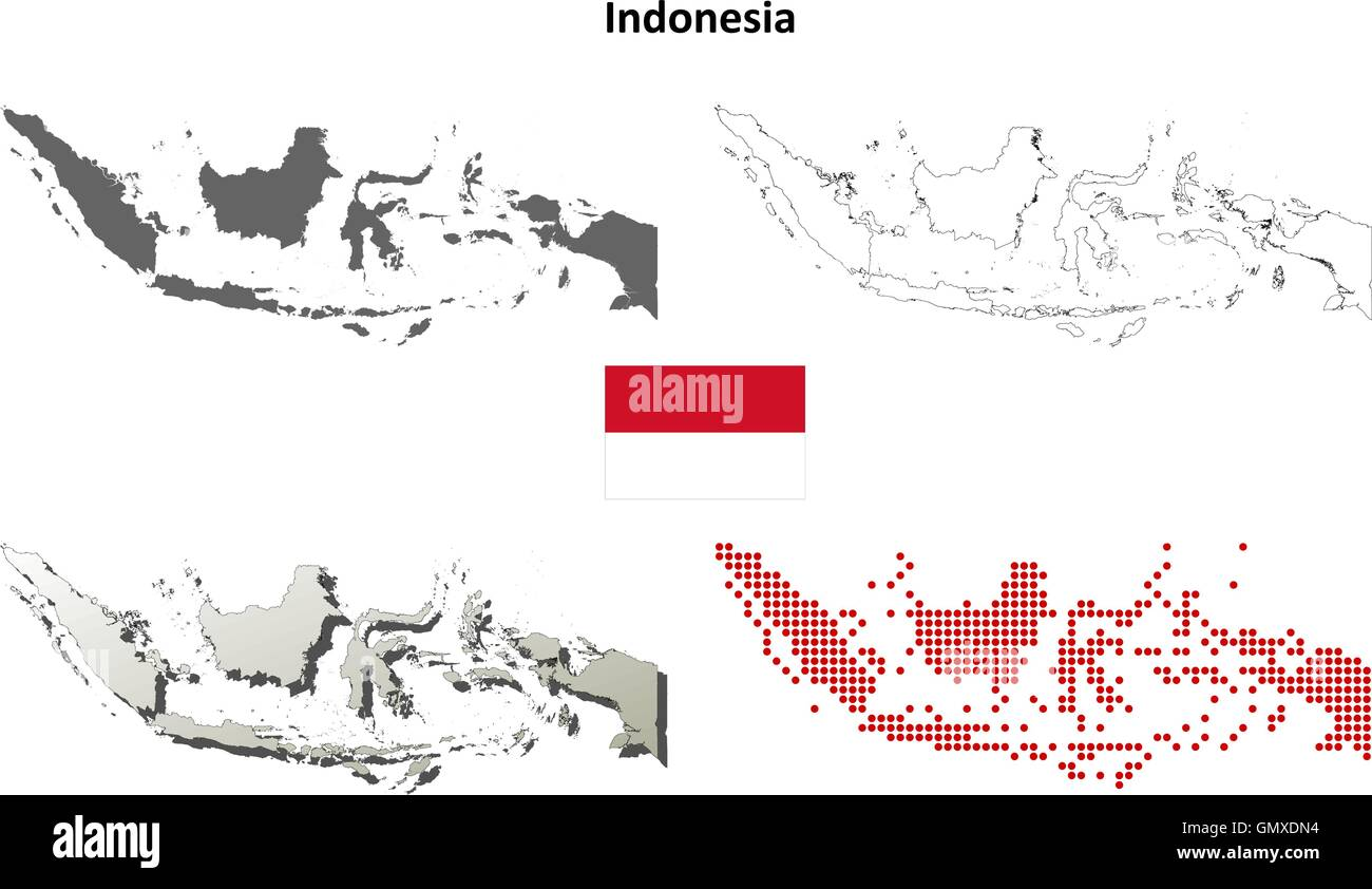 Indonesia outline map set - Stock Vector