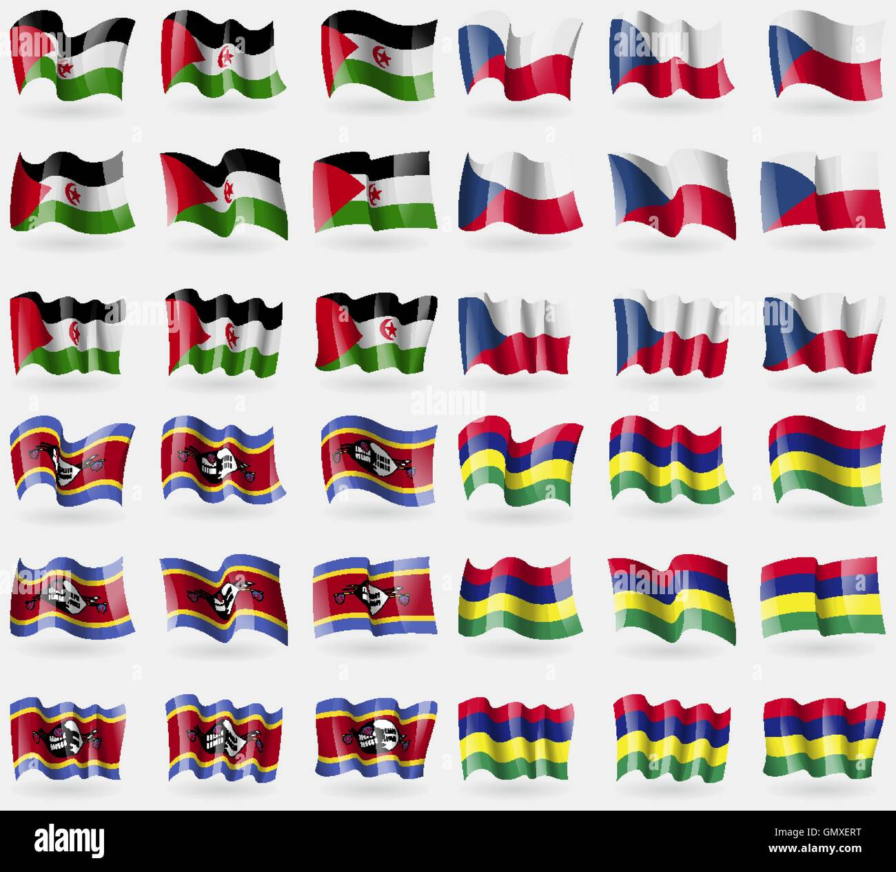 Western Sahara, Szech Republic, Swaziland, Mauritius. Set of 36 flags of the countries of the world. Vector - Stock Image