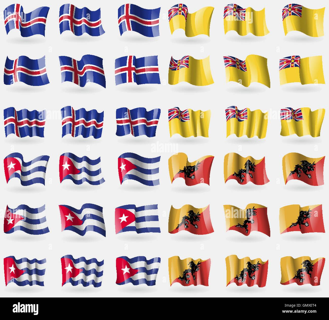 Iceland, Niue, Cuba, Bhutan. Set of 36 flags of the countries of the world. Vector - Stock Vector