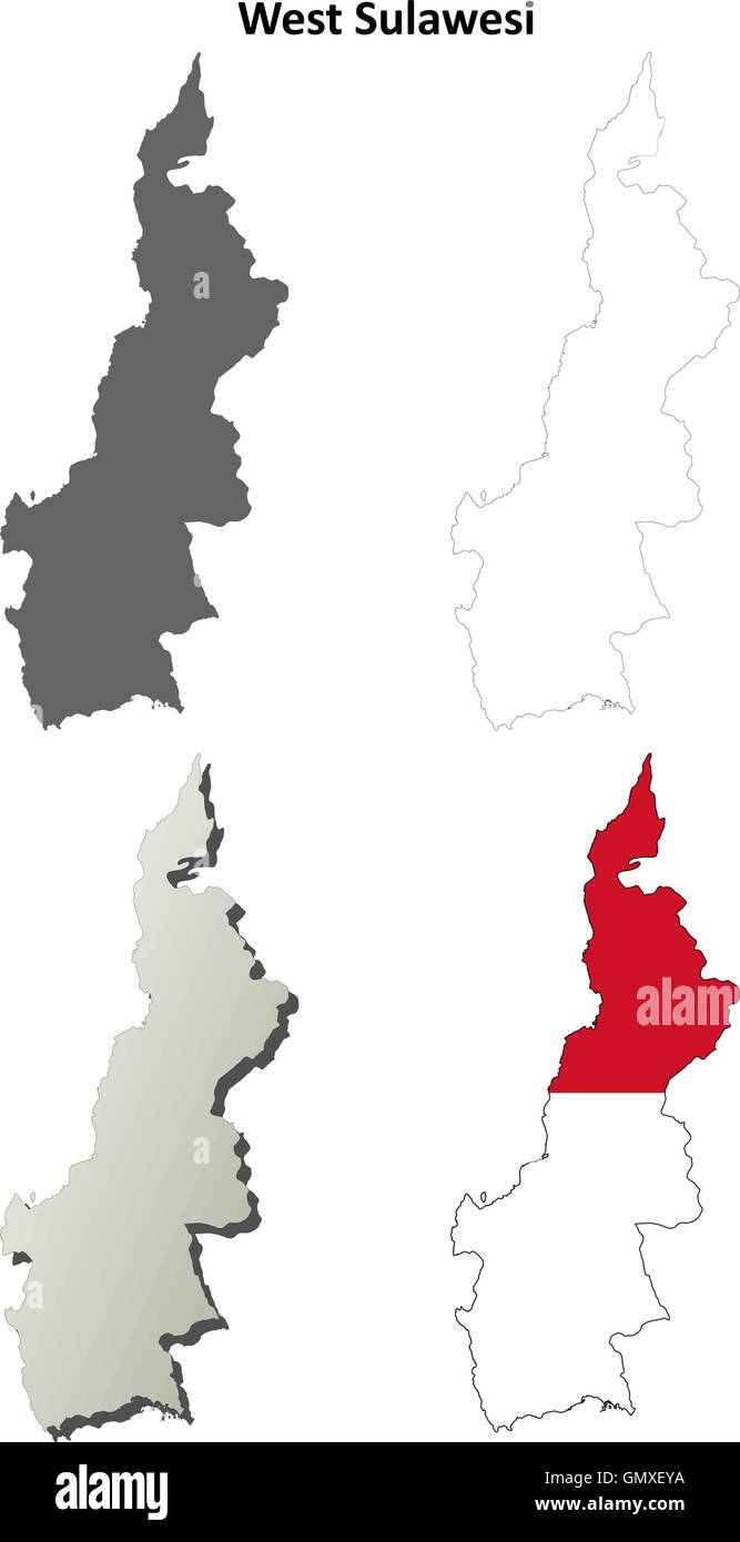 West Sulawesi blank outline map set - Stock Vector
