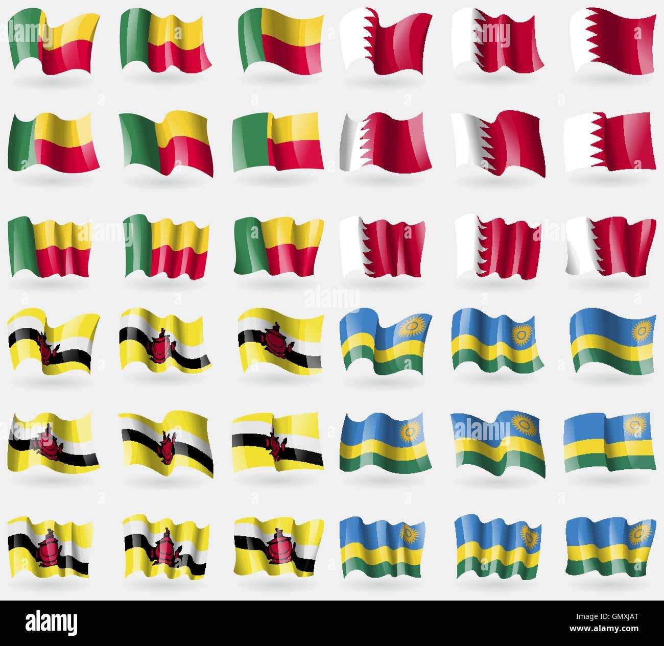 Benin, Bahrain, Brunei, Rwanda. Set of 36 flags of the countries of the world. Vector - Stock Vector