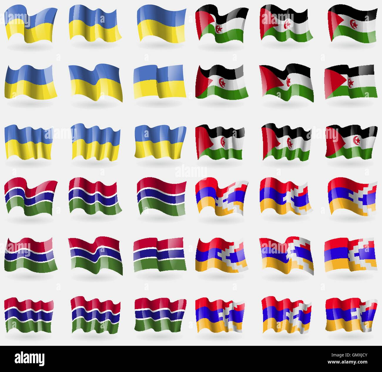 Ukraine, Western Sahara, Gambia, Karabakh Republic. Set of 36 flags of the countries of the world. Vector - Stock Image