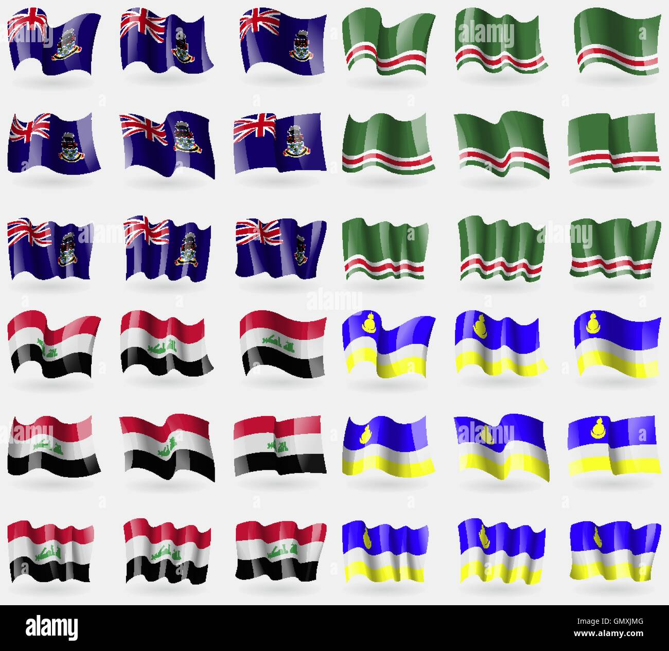 Cayman Islands, Chechen Republic of Ichkeria, Iraq, Buryatia. Set of 36 flags of the countries of the world. Vector - Stock Image