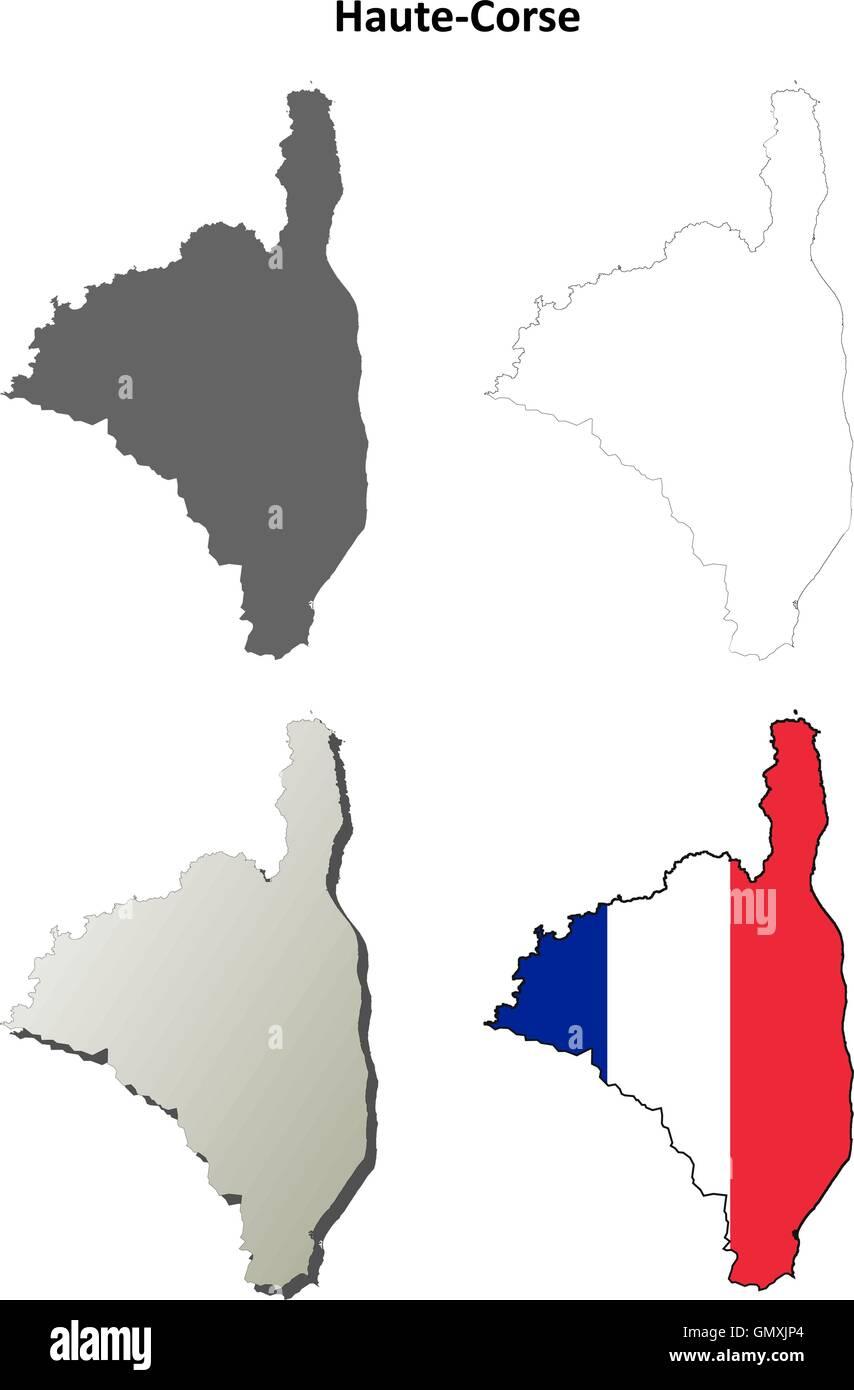 Haute-Corse, Corsica outline map set - Stock Vector