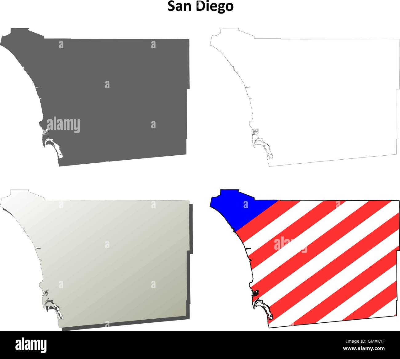 California Map San Diego County.San Diego County California Outline Map Set Stock Vector Art