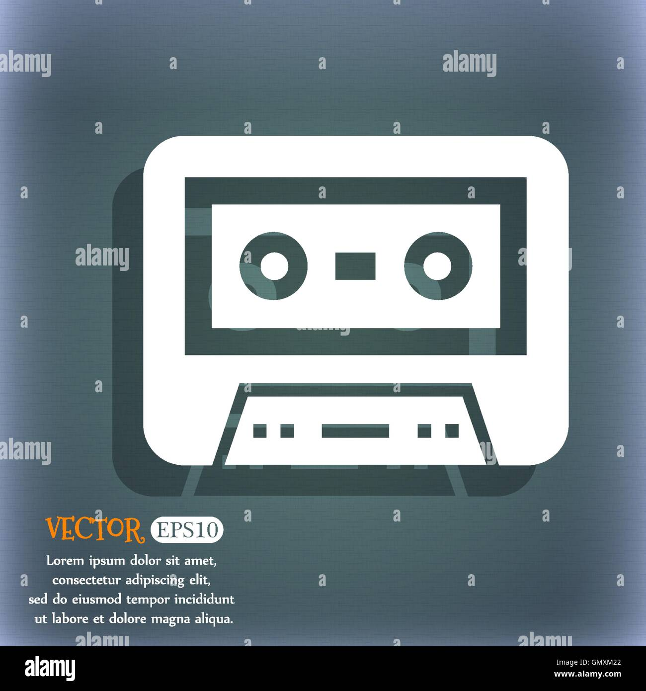 audiocassette icon. On the blue-green abstract background with shadow and space for your text. Vector - Stock Image