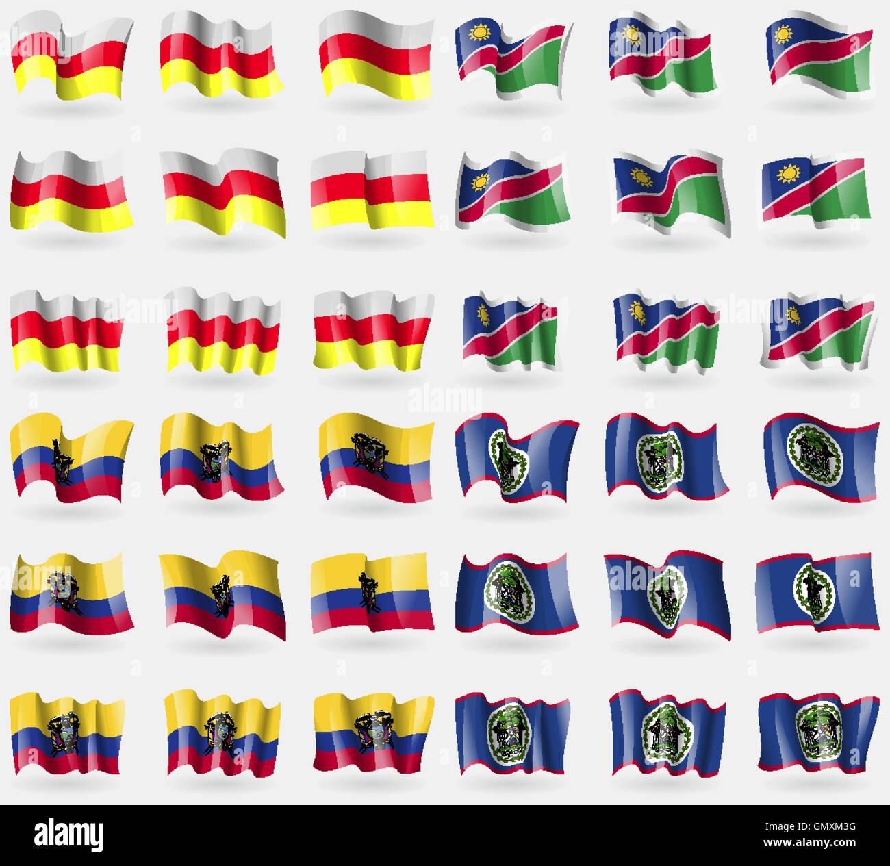 North Ossetia, Namibia, Ecuador, Belize. Set of 36 flags of the countries of the world. Vector - Stock Image