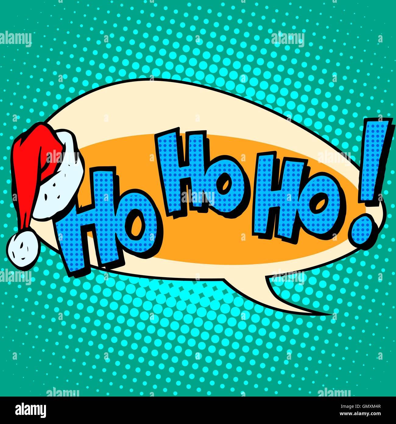 hohoho Santa Claus good laugh comic bubble text - Stock Vector