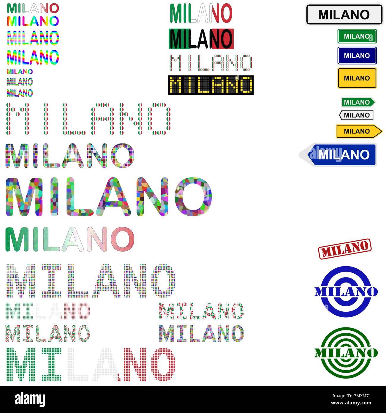 Milano text design set - Stock Vector