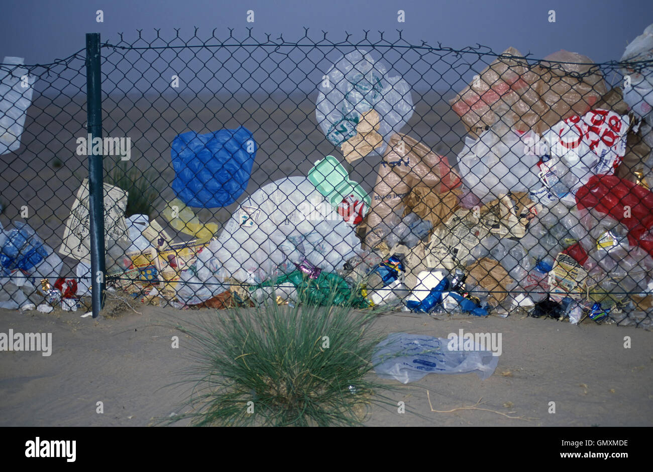 Plastic bags and other garbage pushed by the wind against a fence in Kuwait desert. Kuwait - Stock Image