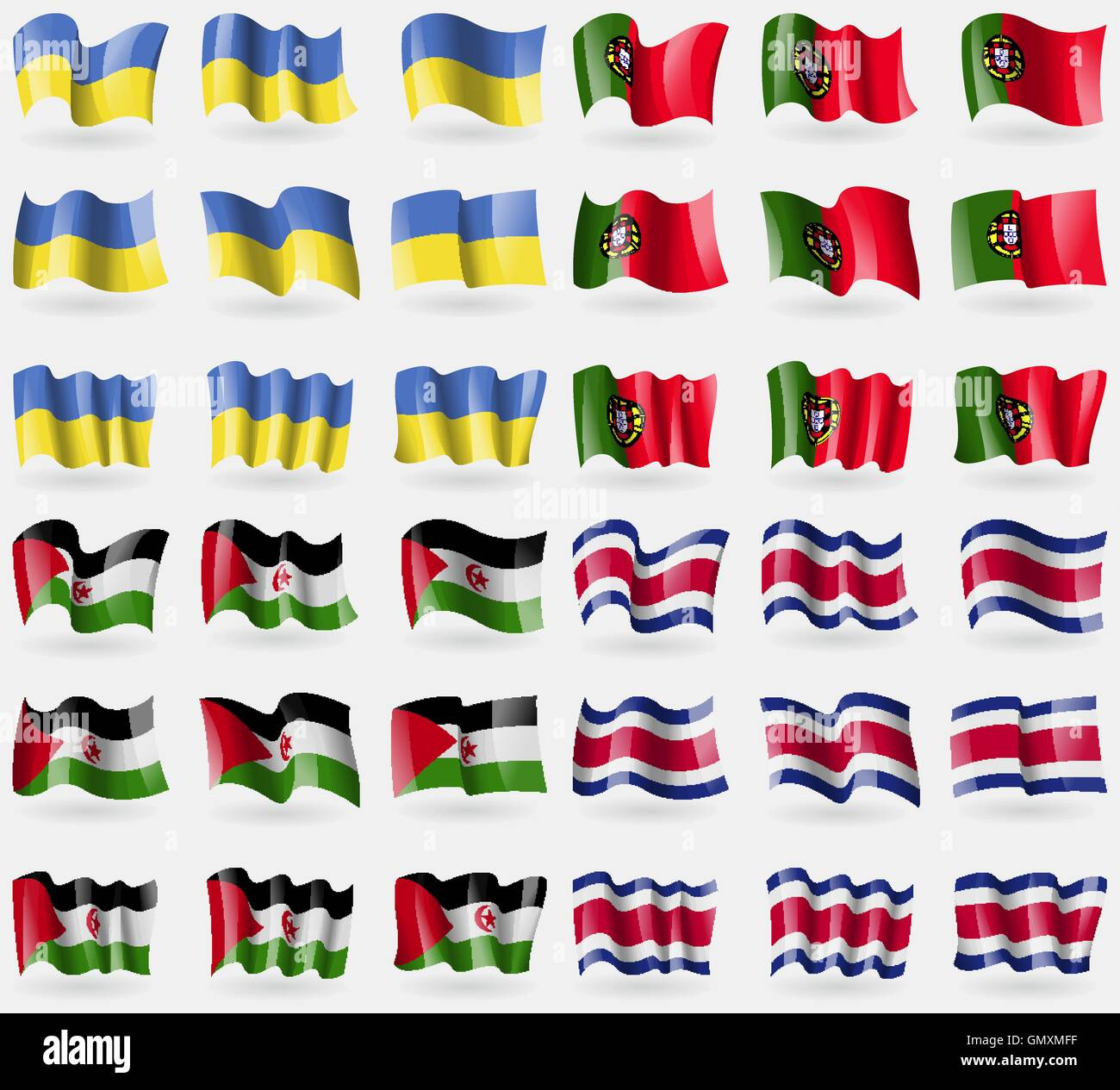 Ukraine, Portugal, Western Sahara, Costa Rica. Set of 36 flags of the countries of the world. Vector - Stock Image
