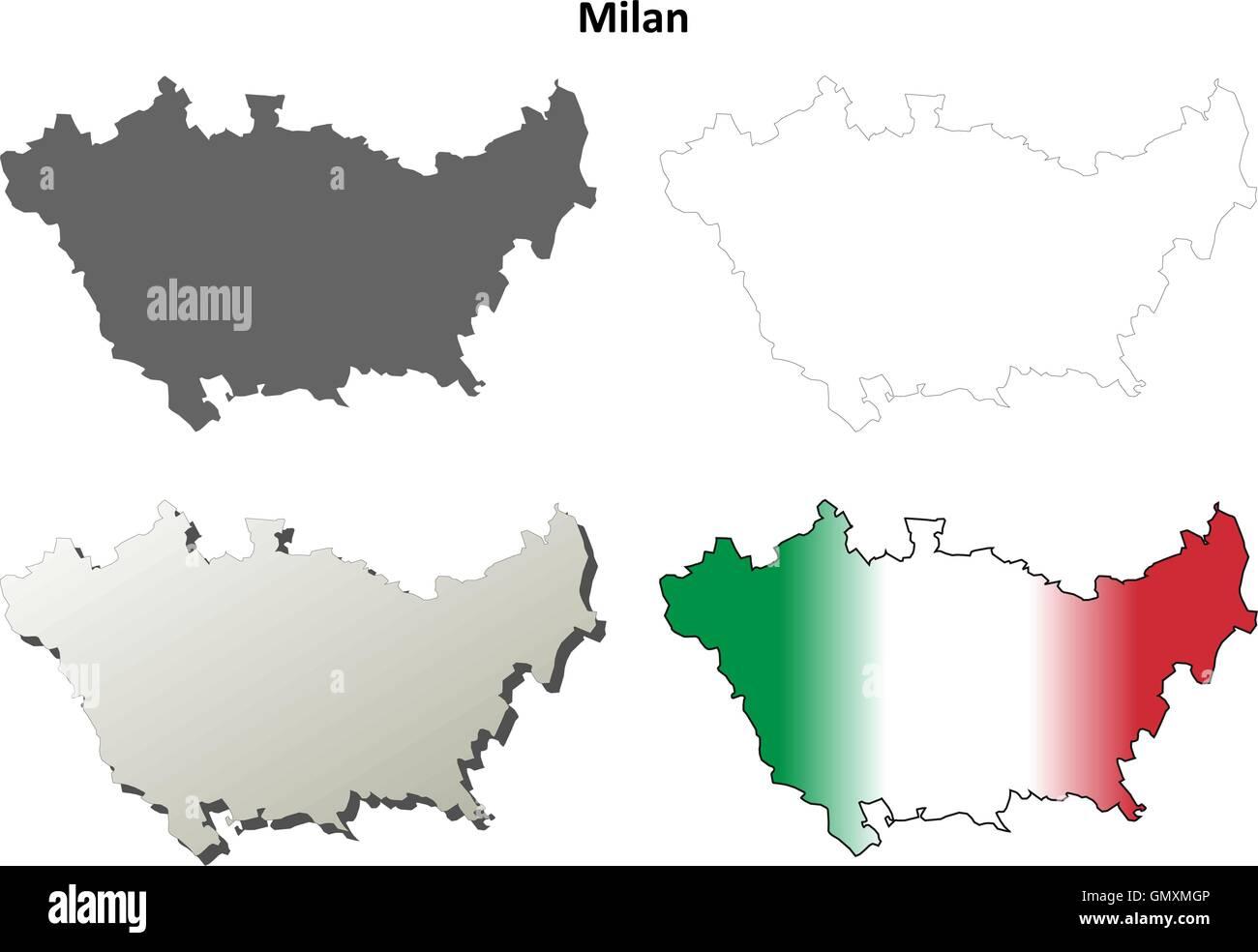Milan blank detailed outline map set - Stock Vector