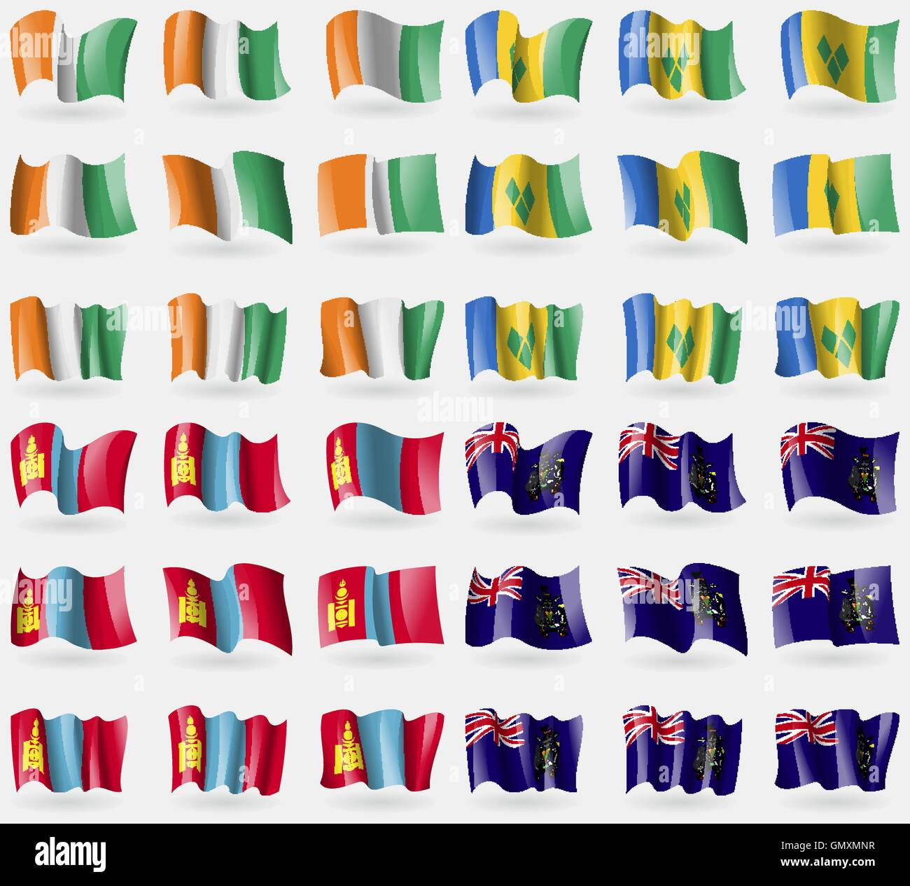 Cote Divoire, Saint Vincent and Grenadines, Mongolia, Georgia and Sandwich. Set of 36 flags of the countries of - Stock Vector