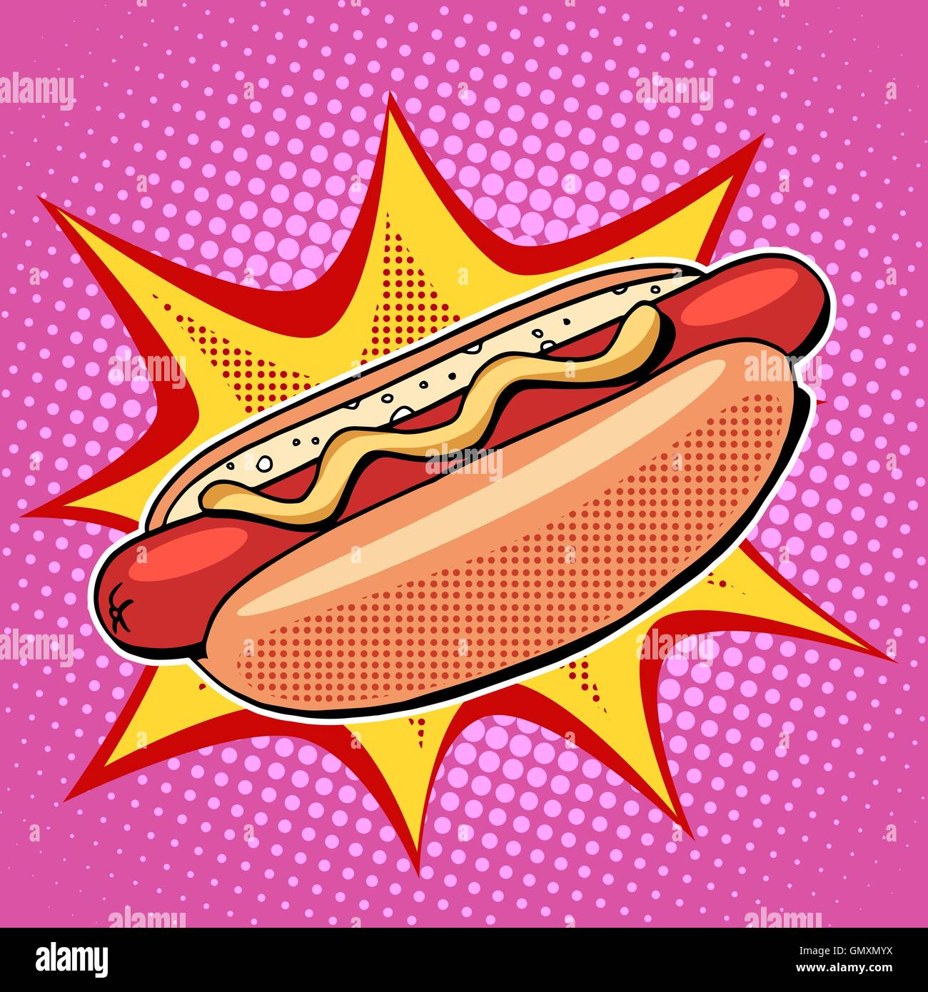 Hot dog fast food vector pop art style - Stock Vector