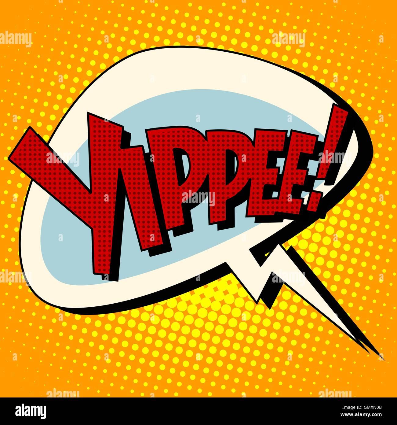 yippee win comic book bubble text - Stock Vector