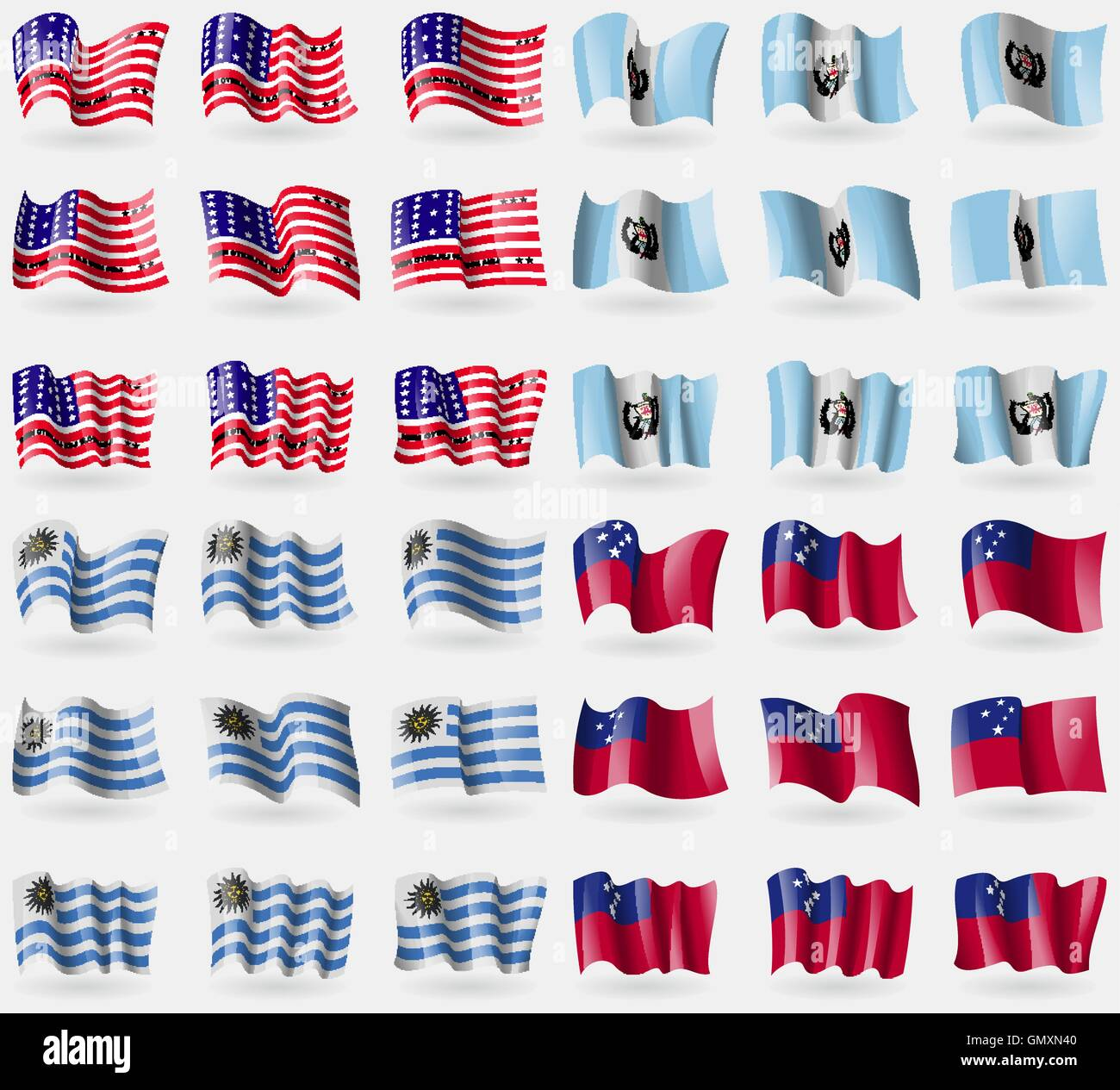 Bikini Atoll, Guatemala, Uruguay, Samoa. Set of 36 flags of the countries of the world. Vector - Stock Image