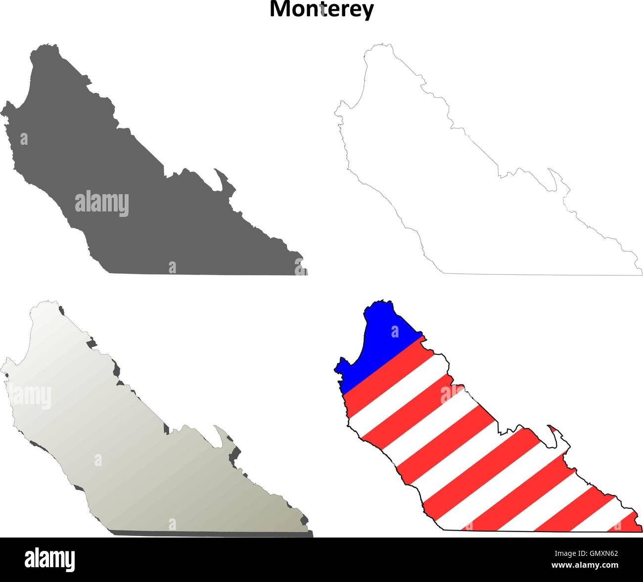 Monterey County California Map.Monterey County California Outline Map Set Stock Vector Art