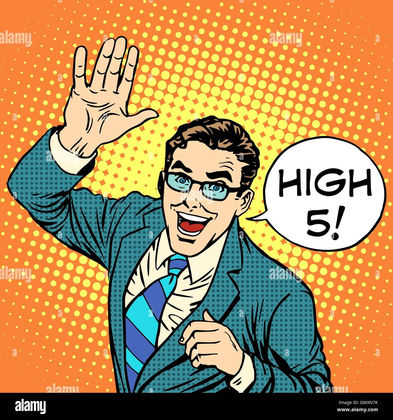 High five joyful businessman - Stock Vector