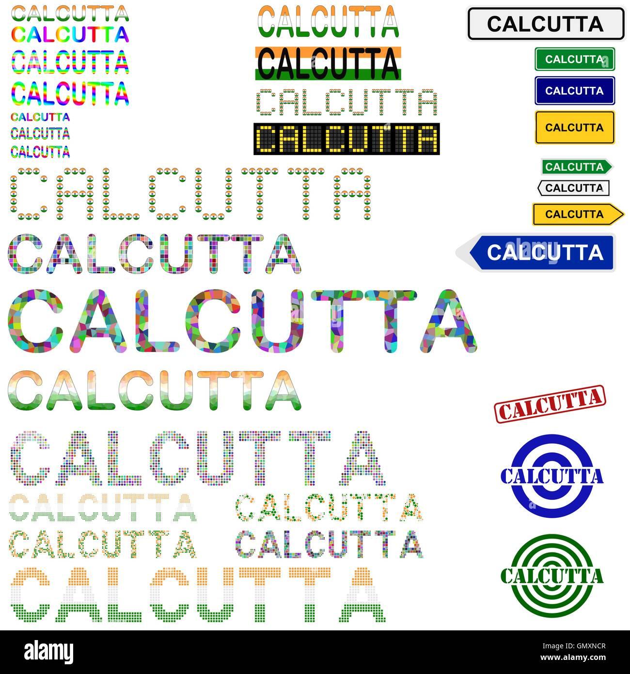 Calcutta (Kolkata) text design set - Stock Vector
