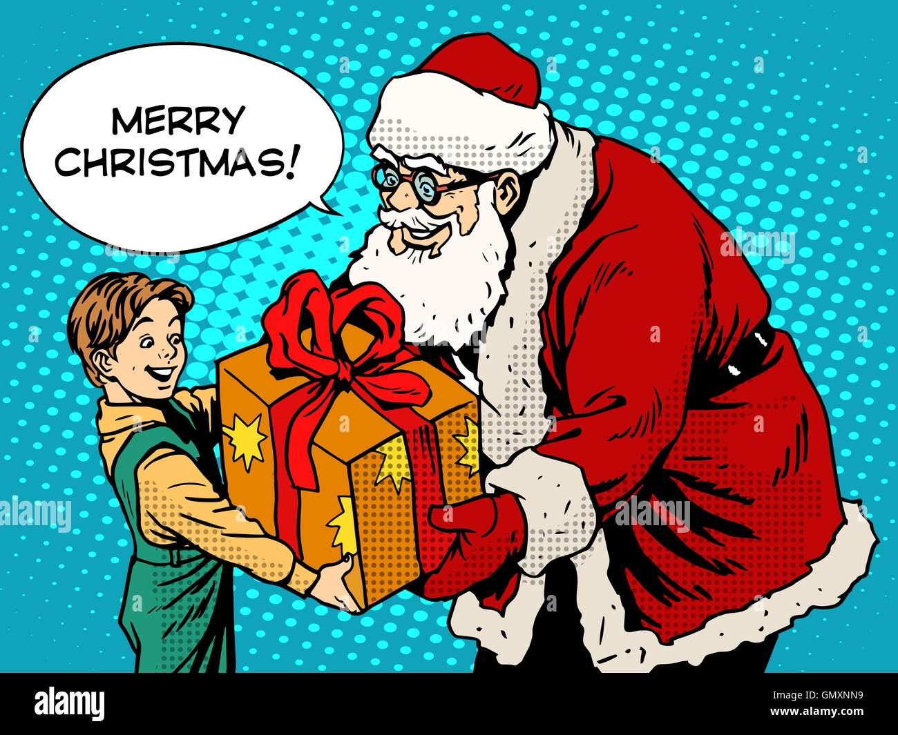 Merry Christmas Santa Claus gift gives the child - Stock Vector